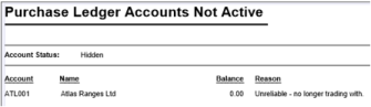 Purchase Ledger Accounts Not Active Report